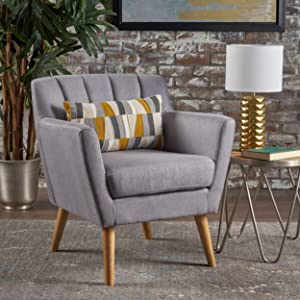 Christopher Knight Home 301454 Madelyn Mid Century Modern Fabric Club Chair (Light Grey)