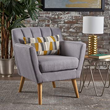 Magnificent Christopher Knight Home 301454 Madelyn Mid Century Modern Fabric Club Chair Light Grey Machost Co Dining Chair Design Ideas Machostcouk
