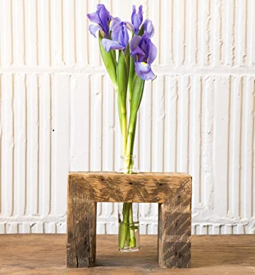 Bud Vase with wood stand, rustic decor, Recycled wood Plant stand, wooden stand for hydroponic plants, housewarming gift