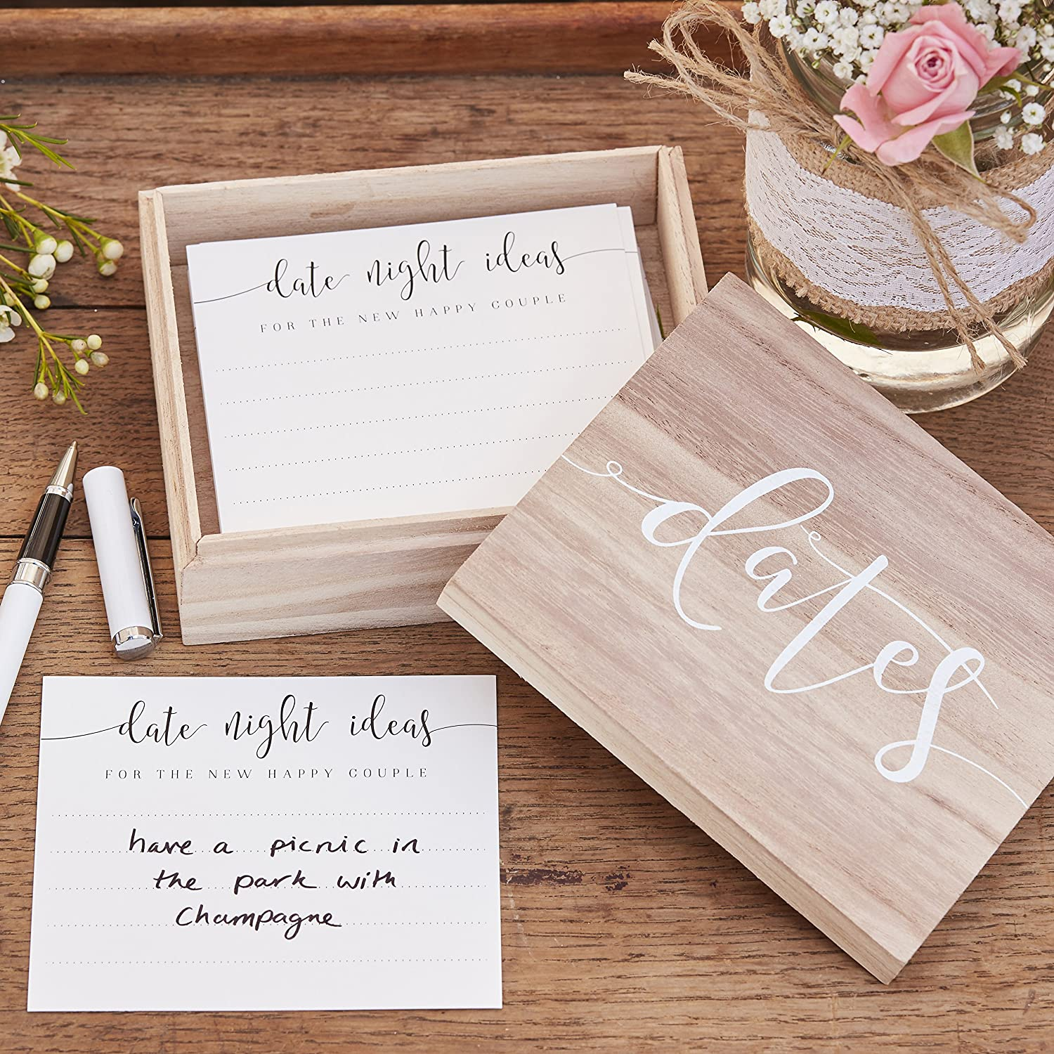 Ginger Ray Date Night Wooden Suggestion Box Alternative Wedding Guest Book, Rustic Country