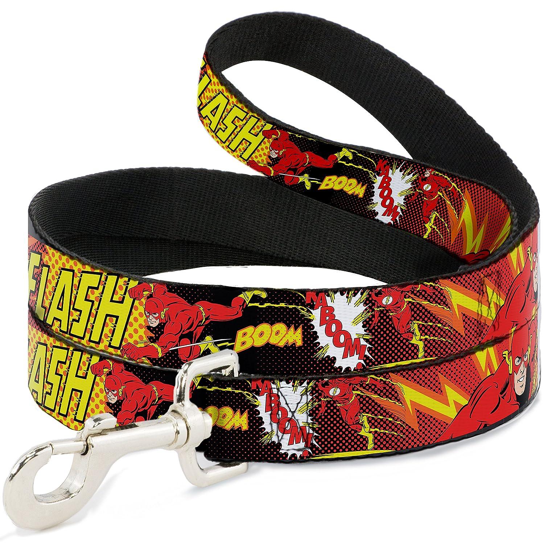 6 Feet Long 1\ Buckle-Down Pet Leash The Flash Boom-Kaboom  6 Feet Long 1  Wide