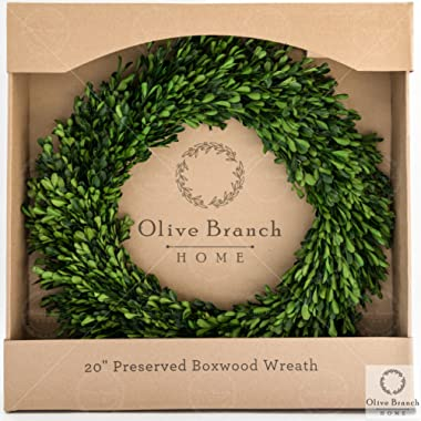 Olive Branch Home Preserved Boxwood Wreath With Straw Back, Large Indoor Year Round Green Wreath (20 Inch Round)