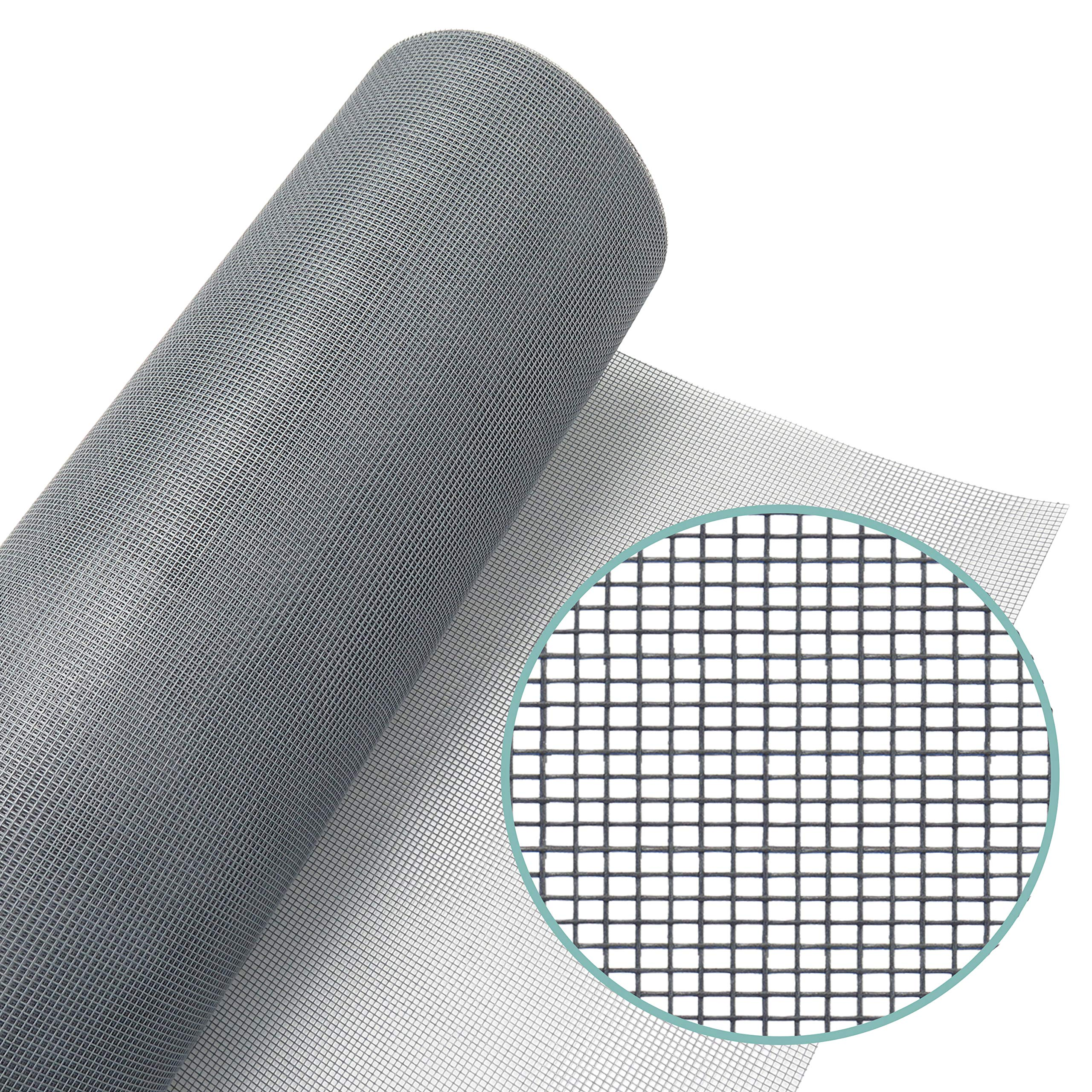 Window Screen Mesh Roll 36​in x 100ft – Fiberglass Screen Replacement Mesh for DIY Projects (Grey Mesh)