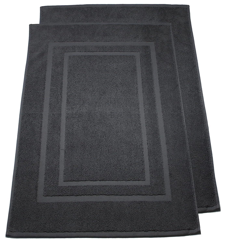 Pack de 2 alfombrillas para ducha de rizo, alfombrilla para ducha, 50x80cm, calidad de 800 g/m² - 100% algodón en 19 colores modernos, algodón, antracita / gris, 50 x 80 cm leevitex