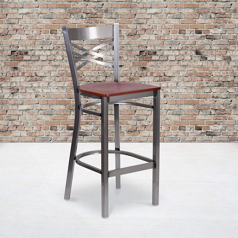 Flash Furniture HERCULES Series Clear Coated ''X'' Back Metal Restaurant Barstool - Cherry Wood Seat