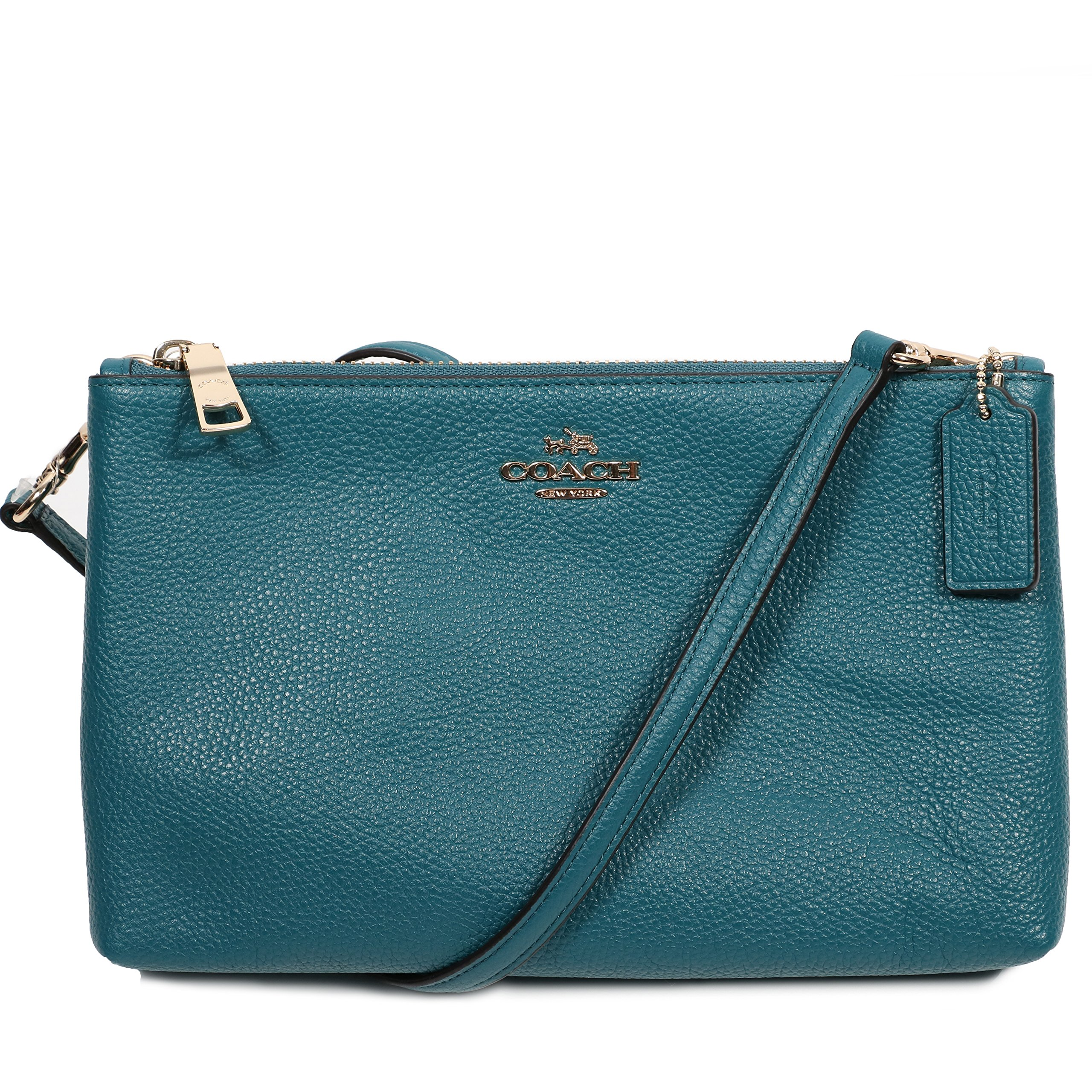 Coach Women's Lilac Pebble Leather Lyla Double Zip Crossbody Bag, Style F38273, Dark Teal by Coach