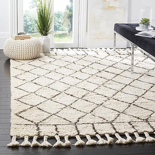 Safavieh Casablanca Shag Collection Southwestern Premium Wool Cotton Area Rug, 8 x 10 , Ivory Brown