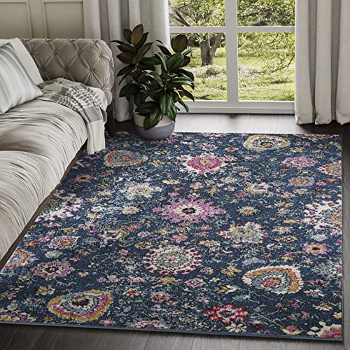 Abani Rugs Large Blue and Multicolor Bold Floral Traditional Area Rug Modern Style Accent, Lennox Collection Turkish Made Superior Comfort Construction Stain Shed Resistant, 4 x 6 Feet