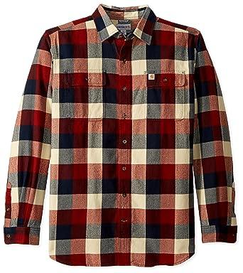 34e8c23b38c363 Carhartt Men's Big & Tall Hubbard Plaid Flannel Shirt at Amazon Men's  Clothing store: