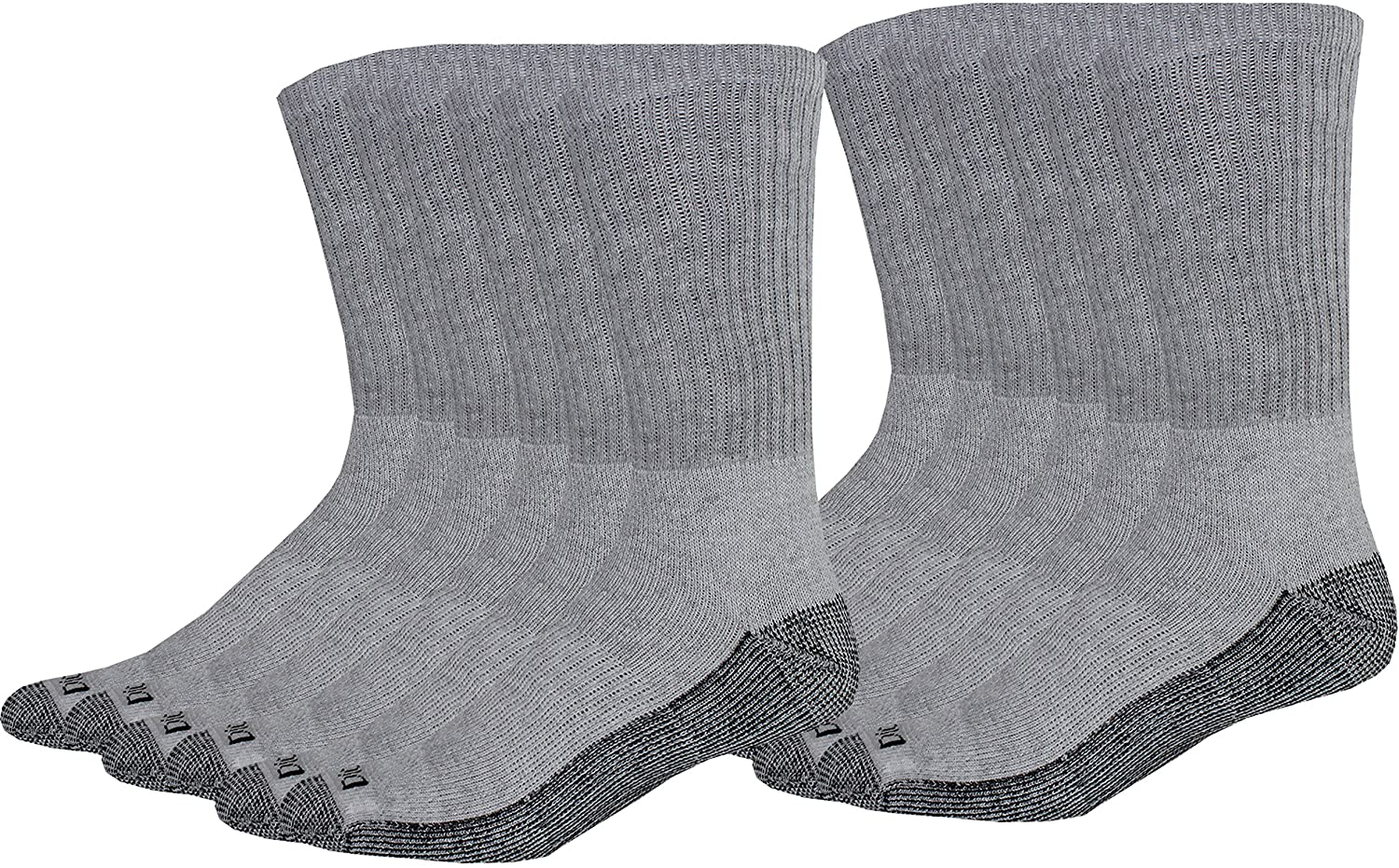 Dickies Men's Dri-Tech Comfort Crew Socks, Grey, 12 Pair