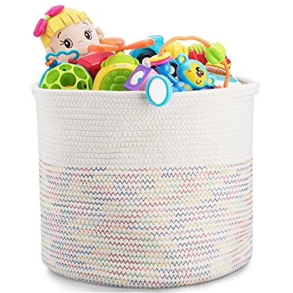 Ordinaire Storage Basket   Cotton Rope Storage Baskets Foldable With Handles,  15u0026quot;x15u0026quot;x13u0026quot