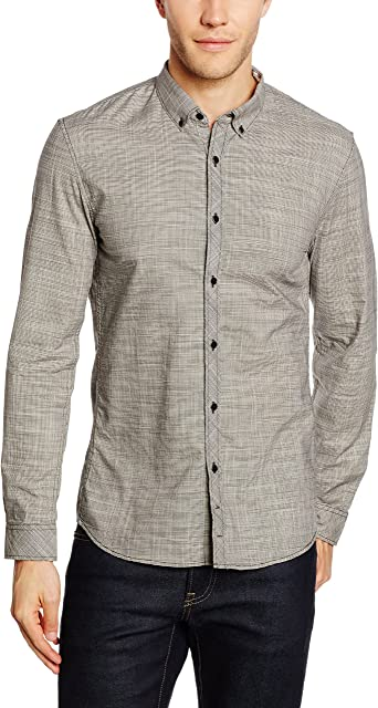 TOM TAILOR Denim four different yarn dyed shirt, Camisa Hombre, Gris (coal mine grey), X-Small: Amazon.es: Ropa y accesorios