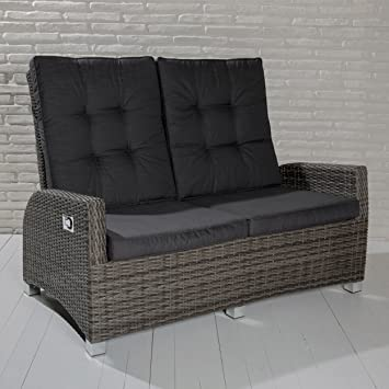 POLY RATTAN Luxus 2 Sitzer Lounge Rocking Sofa verstellbare ...