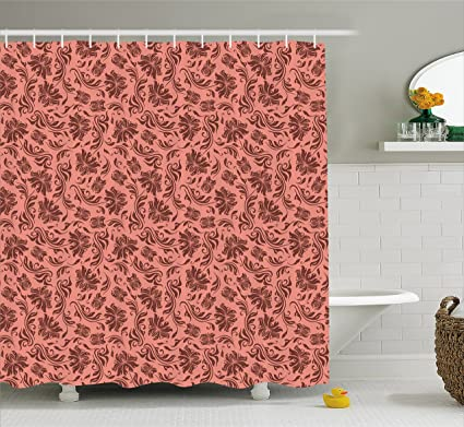 Ambesonne Peach Shower Curtain Floral Pattern With Abstract Leaves And Flowers Soft Old School
