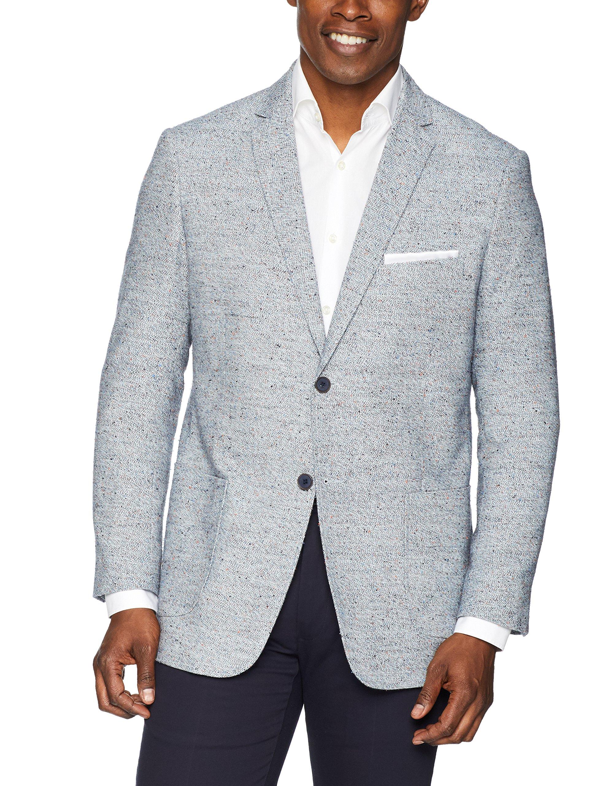 James Campbell Men's Boucle Sport Coat, Sky Blue, M