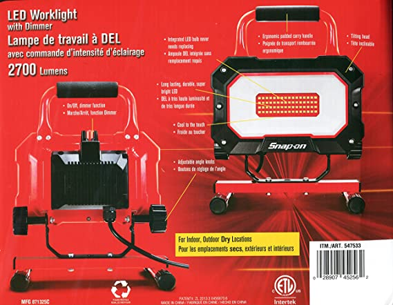 Snap-On LED Worklight, 2700 Lumens, 64 LED with Dimmer, 35W. - - Amazon.com