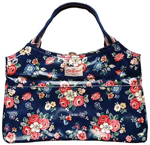c1d063a003 Cath Kidston large open tote oilcloth forest bunch navy  Amazon.co.uk   Shoes   Bags