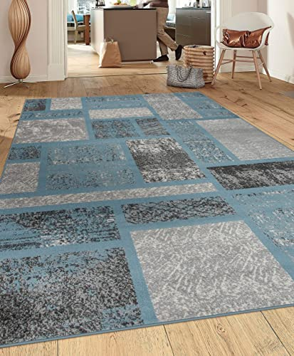 Rugshop Contemporary Modern Boxes Design Area Rug 9 x 12 Blue