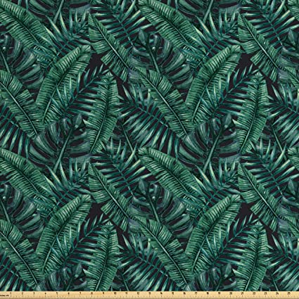 Ambesonne Palm Leaf Fabric By The Yard Watercolor Tropical Jungle Leaves Pattern Fresh Rainforest Hawaii