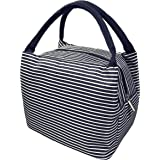 Lunch Box Insulated Lunch Bag - MAGOTAN Lunch Bags for Women Men Reusable Lunch Bags Lunch Cooler Tote Bag Handbag Lunch Organizer Lunch Container for Kids Adults, Blue White Strips