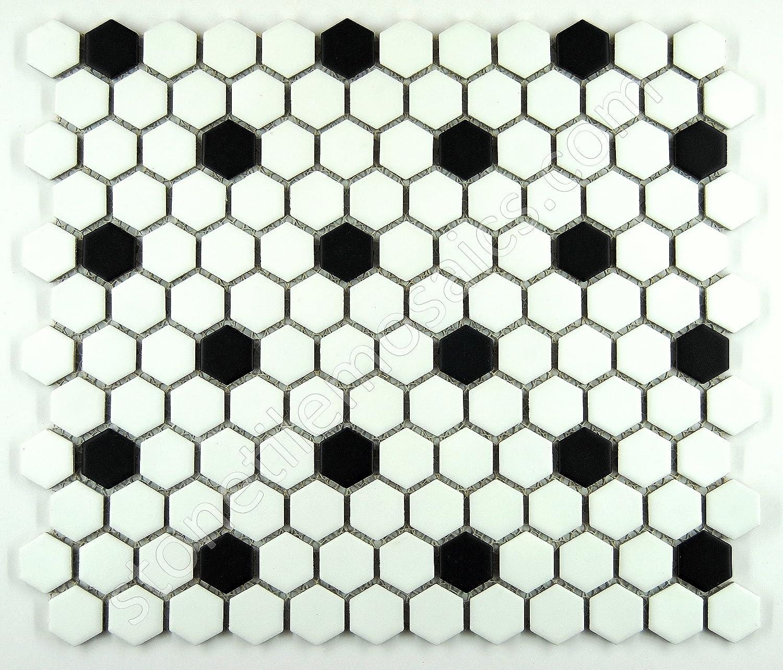 Interior Black And White Mosaic Tile hexagon white with black dots porcelain mosaic tile matte look 1x1 inch marble tiles amazon com
