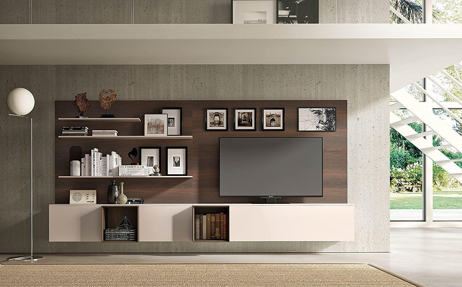 Amazon com pianca spazio modern wall unit entertainment center in burnt oak and glossy lacquer home kitchen