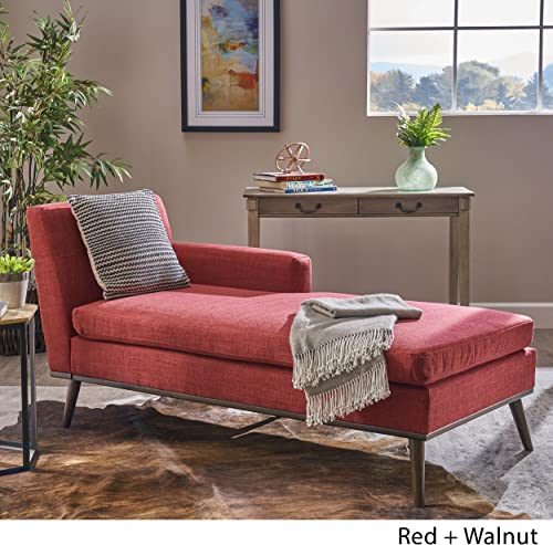 Christopher Knight Home Sophia Mid Century Modern Fabric Chaise Lounge, Red Walnut