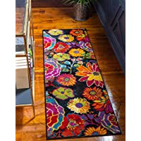 Unique Loom Lyon Modern Floral Area Rug_LYN016, 2 x 6 Feet