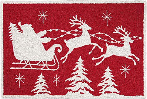 C F Home Flying Santa Sleigh Reindeer Red and White Wool Holiday Hooked Rug 2 x3 Red