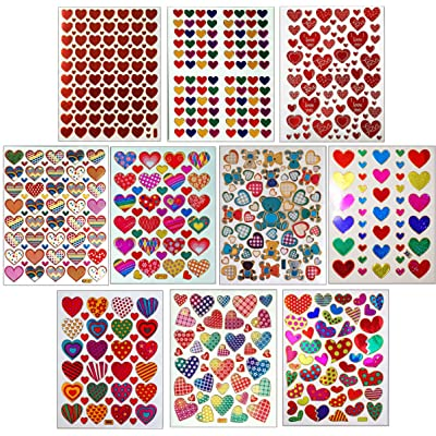 Jazzstick 10-Sheet Valentines Heart Stickers Glitter Red & Colors Value Pack Bulk 02: Toys & Games
