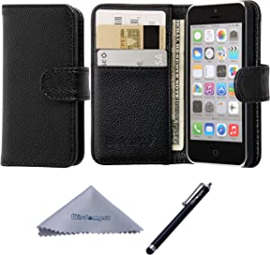 Wisdompro iPhone 5c Case, Premium PU Leather 2-in-1 Protective Flip Folio Wallet Case with Multiple Credit Card Holder/Slots for Apple iPhone 5c (Black)
