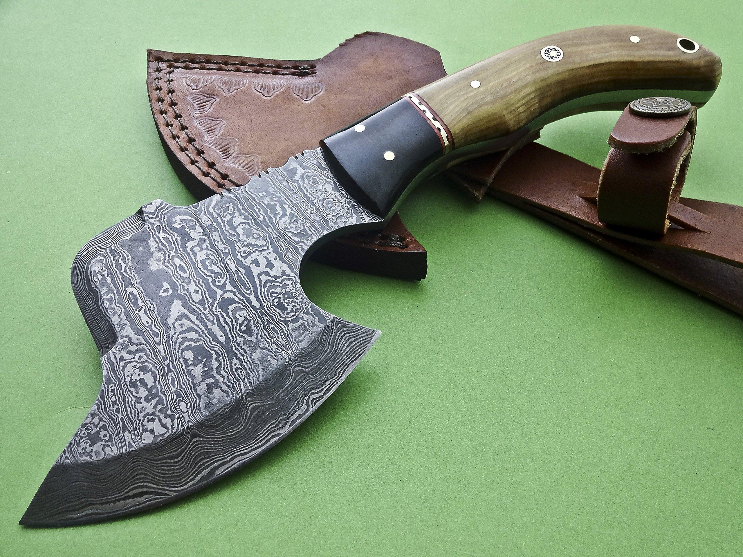 Ax-H-001,Custom Handmade Damascus Steel 9 Inches Axe - Exotic Wood and Bull Horn Handle