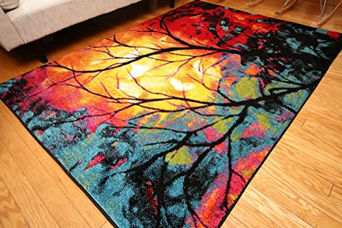 Feraghan Radiance Collection Art Contemporary Collection Modern Tree of Life Wool Area Rug, 8 x 10 , Yellow Blue Orange White