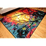 Radiance Art Collection Contemporary Modern Tree of Life Wool Area Rug, 5'2 x 7'3, Multicolor