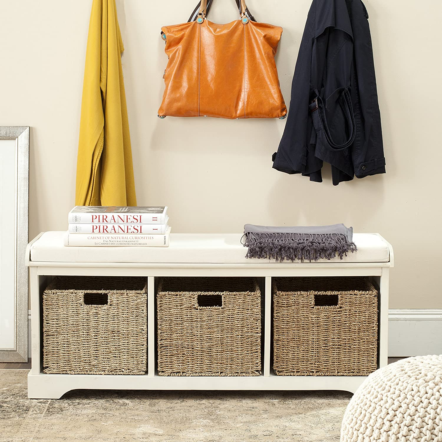 Safavieh American Homes Collection Lonan Grey and White Wicker Storage Bench