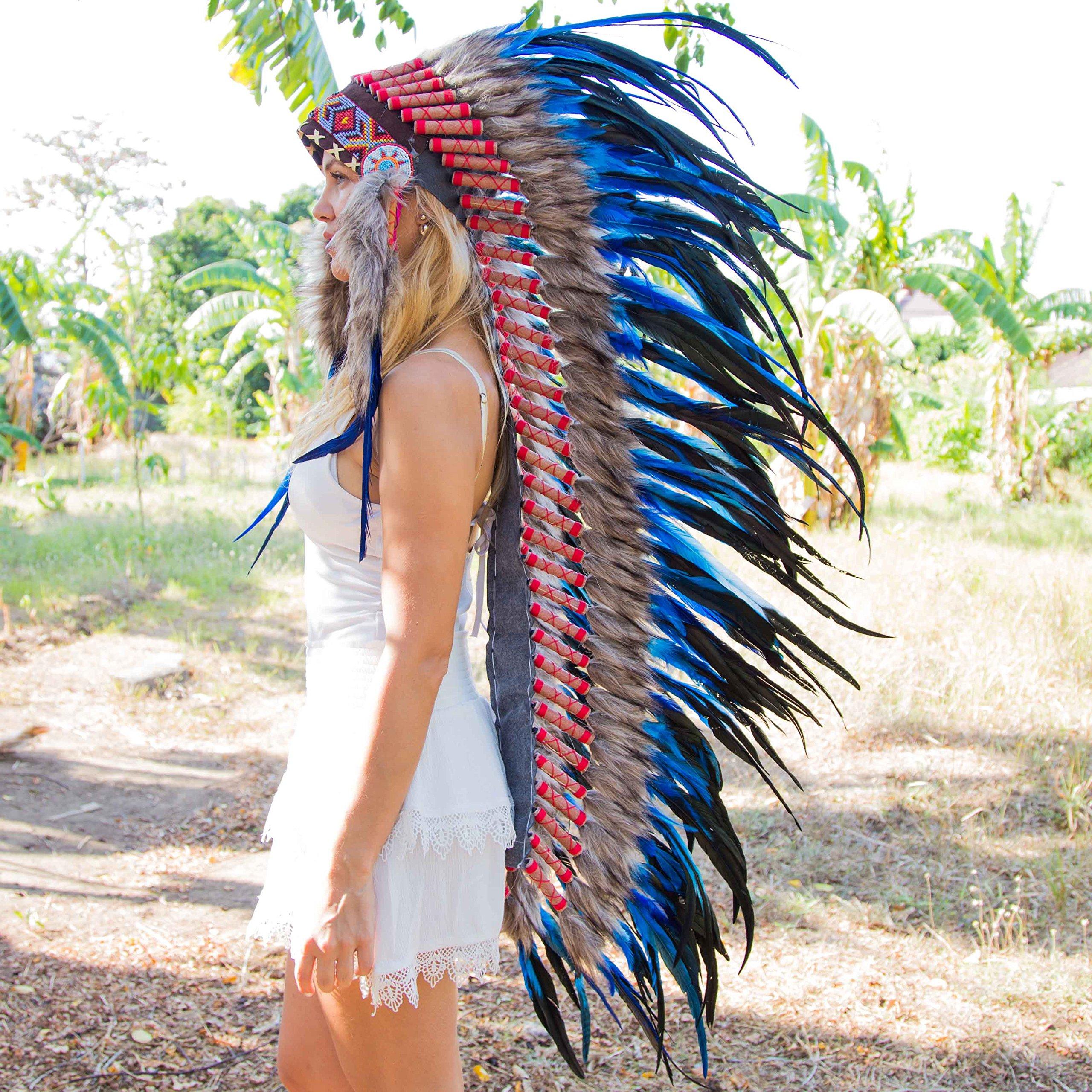 Novum Crafts Feather Headdress | Native American Indian Inspired | Dark Blue