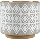 "Amazon Brand – Rivet Geometric Ceramic Planter, 8.7""H, White and Grey"