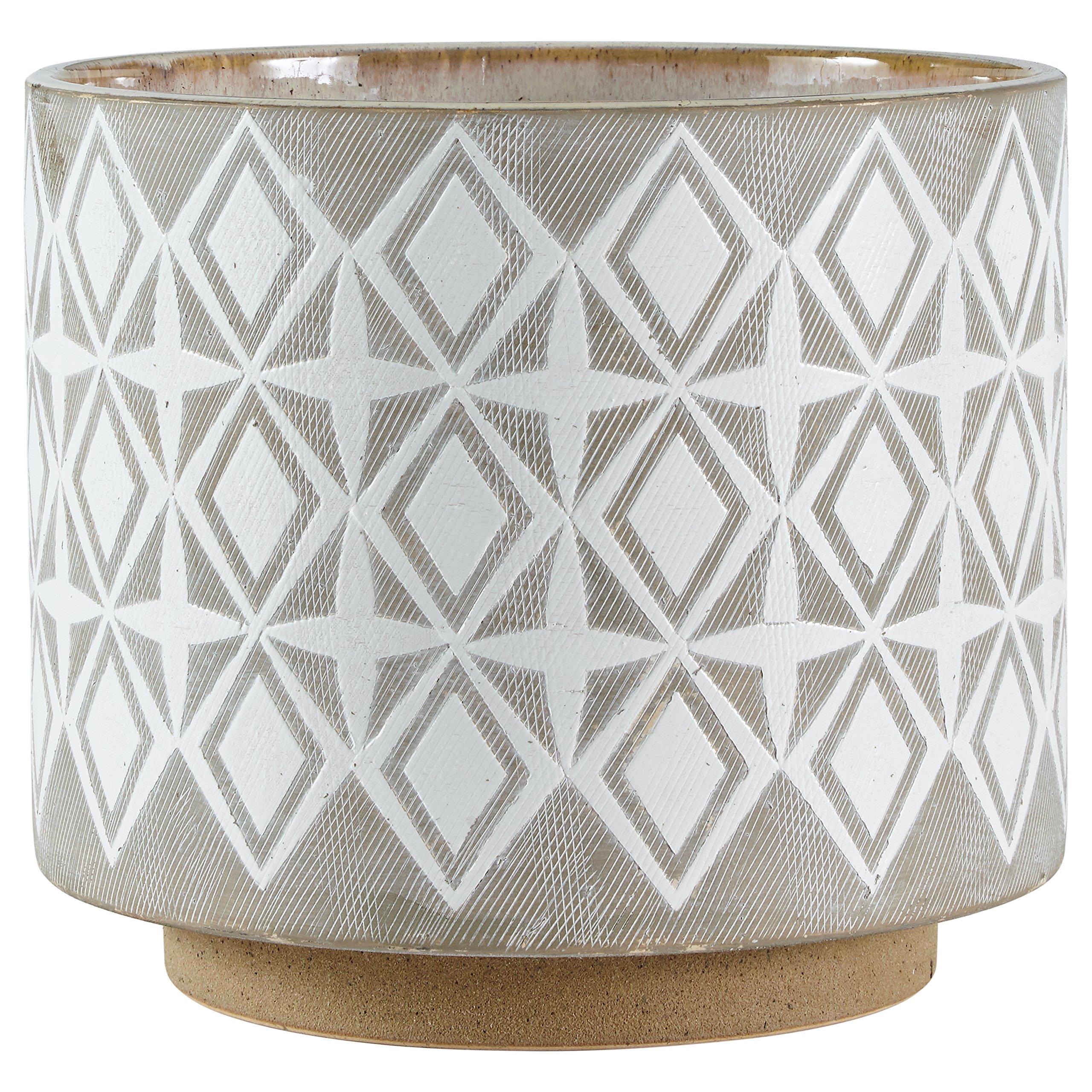 Rivet Geometric Ceramic Planter, 8.7''H, White and Grey