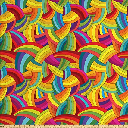 Vintage Multi Color Swirls  Cotton Fabric   60 inches wide   1 yard