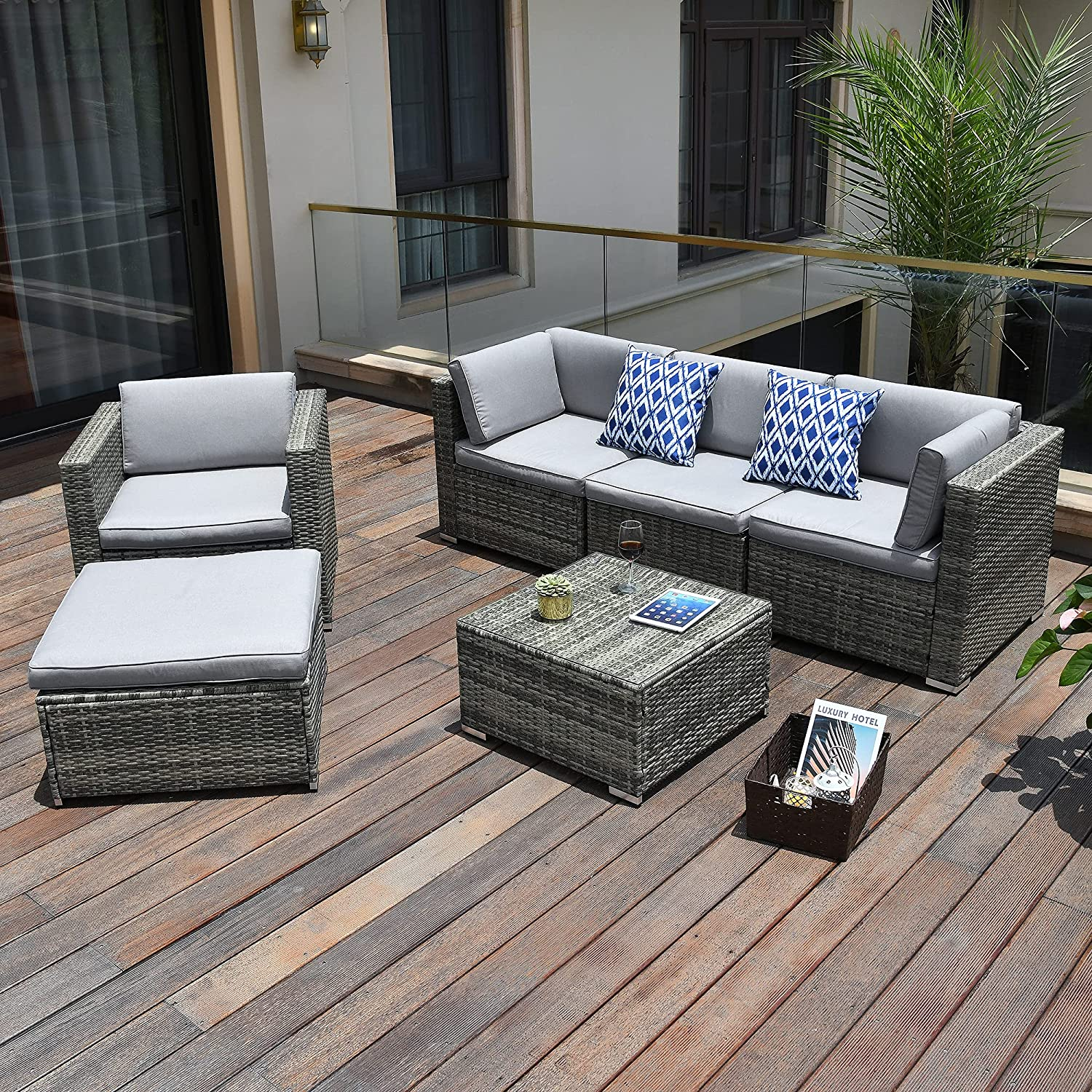 YITAHOME 6 Pieces Patio Furniture Set, Outdoor Sectional Sofa PE Rattan Wicker Conversation Set Outside Couch with Ottoman, Table and Cushions for Porch Lawn Garden Backyard, Grey