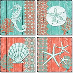 Gango Home Décor 4 Lovely Teal and Coral Ocean Seashell Sand Dollar Seahorse Star Fish Collage; Nautical Decor; Four 8x8 Inch Mounted Prints; Ready to Hang!