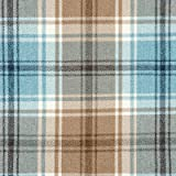Duck Egg Blue Tartan Check Fabric by the Metre - Flat Woven Wool Effect Twill. Upholstery, Curtain and Craft Fabrics 140cm Wide by McAlister Textiles from the 'Angus' design range.