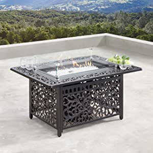 Oakland Living AZCABOS-FPT-AC Aluminum 48 in. Rectangular Propane Wind Blockers, Beads, Lid and Fabric Covers in Antique Copper Outdoor fire Table