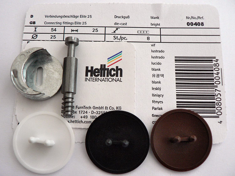 HKB /® 8 x Verbindungsbeschl/äge RASTEX 25 Plus Elite Spannma/ß 24,5mm, Stahl-ZD vernickelt /ø25mm