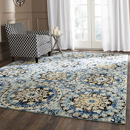 Safavieh Evoke Collection EVK212D Contemporary Blue and Gold Area Rug 10' x 14'