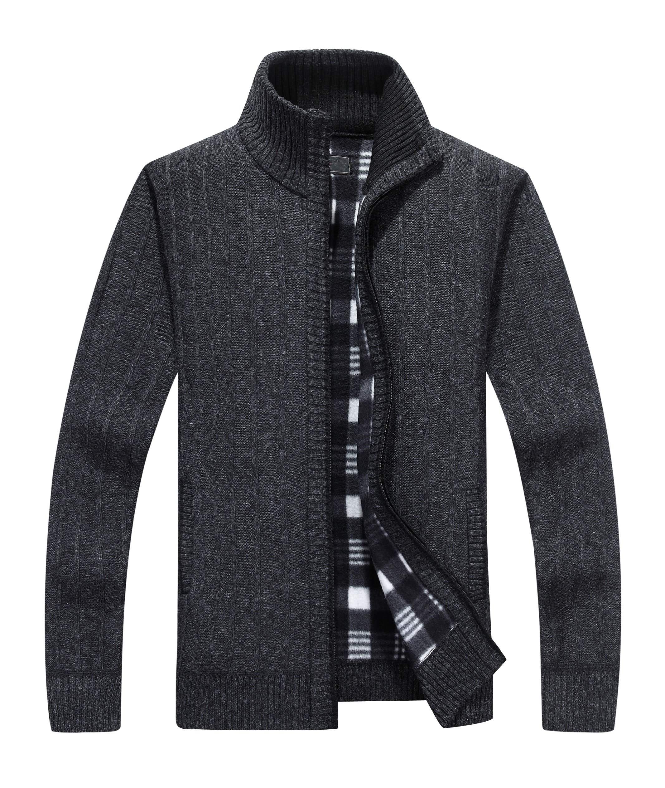 Yeokou Men's Casual Slim Fit Full Zip Thick Knit Cardigan Sweaters with Pockets (X-Large, Black001)