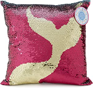 Charming Charlie Mermaid Tail Sequin Throw Pillow - Color-Changing, Reversible Design - Sparkly Pink