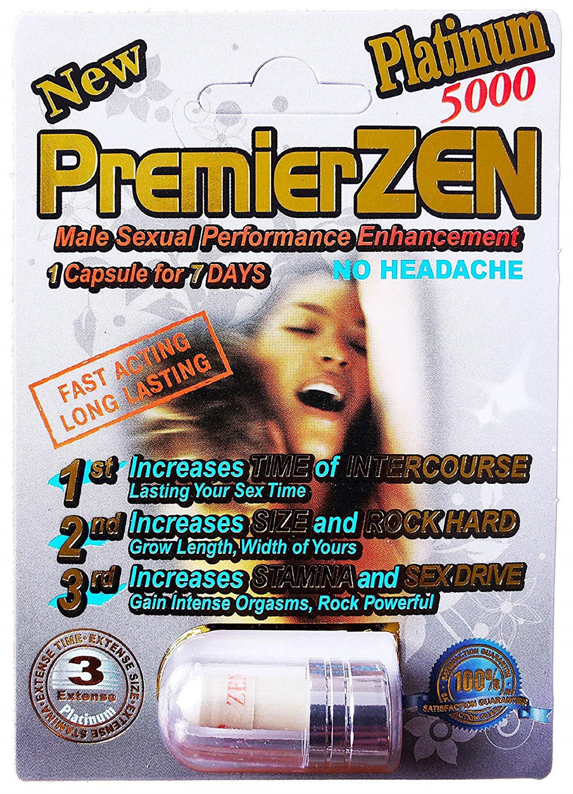 PremierZen Platinum 5000 Sexual Performance Enhancer [Bundle 6 Pills + 'Double Outlet' Gift] (6 Silver + Gift)