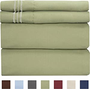 California King Size Sheet Set - 4 Piece Set - Hotel Luxury Bed Sheets - Extra Soft - Deep Pockets - Easy Fit - Breathable & Cooling - Wrinkle Free - Comfy – Sage Green Bed Sheets - Cali Kings Sheet