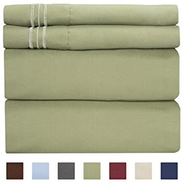 King Size Sheet Set - 4 Piece Set - Hotel Luxury Bed Sheets - Extra Soft - Deep Pockets - Easy Fit - Breathable & Cooling - Wrinkle Free - Comfy – Sage Green Bed Sheets - Kings Sheets 4 PC